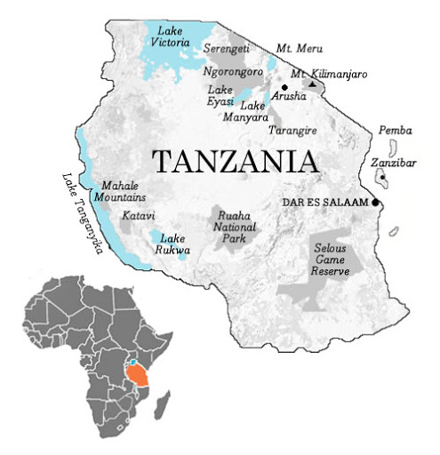 The map of Tanzania
